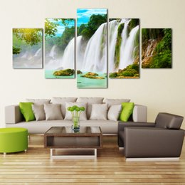 $enCountryForm.capitalKeyWord NZ - Nature scenery waterfall trees canvas painting rectangle HD large image painting deco for restaurant Giveaway wall sticker No Frame