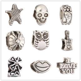 Lips Skull Canada - Wholesale Tibetan Silver I LOVE YOU Starfish LIP SKULL Beads European Big Hole Spacer Beads For Charms Bracelet XZ36