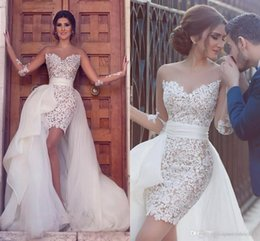 Short Formal Wedding Dress NZ - 2017 Arabic Sexy Short Wedding Dresses A Line Jewel Neck Illusion Long Sleeves Lace Appliques Hi Lo Overskirts Plus Size Formal Bridal Gowns