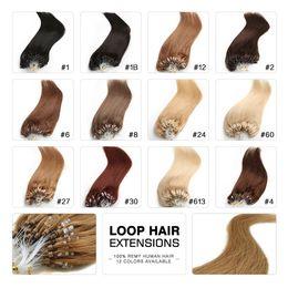"""Micro Loop Remy Extensions de Cheveux 18 """"20"""" 22 """"24"""" Indien Vierge Cheveux Raides Kératine Cheveux 100g / lot 1g / brin 13 Couleurs en Solde"""