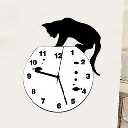 modern mirror 3d wall stickers UK - Tom and Jerry 3D Clock Wall Mirror Sticker Clock Watch Mirror Stickers Home CAT Wall Decor Decals Wall Clock Modern Design