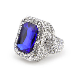 Chinese  New Men Red Blue Black Green Ruby Ring Hip Hop Men Ring Famous Brand Iced Out Micro Pave Cz Ring manufacturers