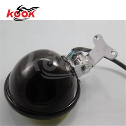 Top Quality Black Motorcycle LED Headlight Head Lamp Chrome For Harley Chopper Custom Yellow Lighying Universal Motorbike