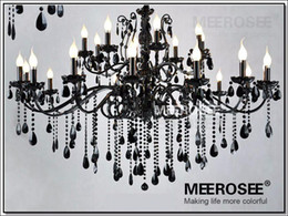 Discount princess room lamps - Modern Black 24 Arms Chandelier Crystal Light Fixture Large American Princess Wrought Iron Lustre Hanging Lamp MD2520 L2