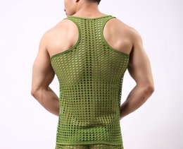 men s shaping underwear UK - Male vest elastic nylon breathable square collar perspectivity undershirt fishnet I-shaped vest mesh singlet underwear ondergoed