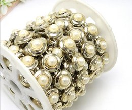 $enCountryForm.capitalKeyWord Canada - 20yard Half ROund Pearl Beads UV Plated Chain Trim For Sewing Apperal Bag Shoes Cap Collar Decoration