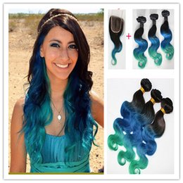 Blue Ombre Hair Bundles Canada - 1B Blue Teal Malaysian Ombre Hair Bundles With 4*4 Body Wave Lace Closure 3Pcs Ombre Hair Weave With Closure Free Parting 4Pcs Lot