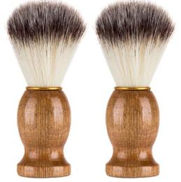 $enCountryForm.capitalKeyWord Australia - Barber Hair Shaving Razor Brushes Natural Wood Handle Nylon Bristle Beard Brush For Men Best Gift Barber Tool CCA6824 600pcs