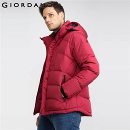Barato Mangas Desmontáveis ​​jaqueta Masculina Para Baixo-Atacado- Giordano Men Detachable Hooded Down Jacket Thick Duck Down Coat Masculino Inverno Warm Mens jaquetas e casaco manga comprida manga exterior