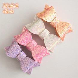 Barato Moderno Bebê Arcos-Sem clipes New Arrival 20pcs / lot Hair Clip Bows Bestseller Glitter Felt Hair Clips Baby 7Colors Barrettes Modern Girls Hairpins