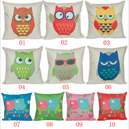 knit owl pattern Canada - Cute Cartoon Pillow Cover Lovely Cartoon Owl Pattern Pillow Cover Student Packrest Cover Kids Cushion Cover