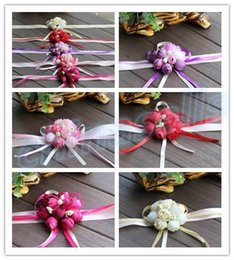 Hand Flowers Bride Bridesmaids Wrist Canada - Bridesmaid Bride Wedding Props Hand Flower Silk Rose Bride Wrist corsage Flowers Wedding Decoration party Festive Props Wreaths