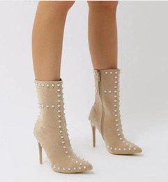 $enCountryForm.capitalKeyWord NZ - Black Beige Grey Suede Botas Pointed Toe Sexy High Heels Spiked Shoes Woman Rivet Studs Booties Stilettos Ankle Boots For Women