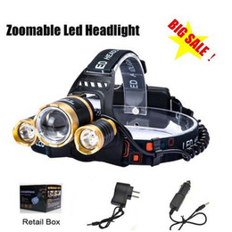 boruit headlamps 2019 - Boruit Gold Head 5000LM CREE XML T6 Zoomable Headlamp Head Torch Flashlight Rechargeable Led Headlight Outdoor +2xCharge