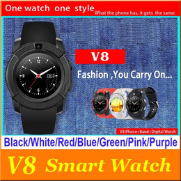 Wholesale apple watch 5 camera resale online - V8 Smarthwatch Bluetooth Watches with Camera SIM And TF Card Watch For Samsung Note Cell phone IOS Iphone i7 Smartphone with Retail Box