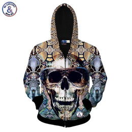 China Hip Hop Autumn fashion zipper jacket men women 3d sweatshirt print big glasses skull hoodies with hat hooded hoody tops suppliers