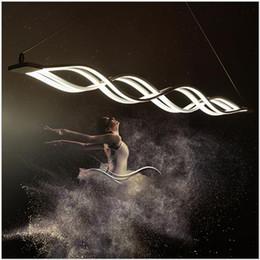 $enCountryForm.capitalKeyWord Canada - Modern Minimalist Led Chandeliers Wave Pendant Light 40W 80W Led Suspending Lamp Fixture Dining Room Living Room Hanging Light Metal+Acrylic
