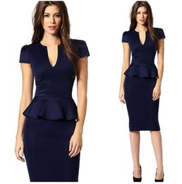 Robe De Tunique Pas Cher-Femmes Peplum élégant sexy Deep V Neck manches manches Tunique Slim Casual Party Club Clubwear Bodycon Bain Gaine Robes Robe S15