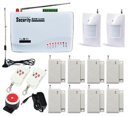 gsm door alarm NZ - Wireless Home Security Burglar GSM Alarm System Auto Dialer SMS SIM Call (Built-in battery) Dual Antenna 8x Window Alarm 2x Infrared Alarm