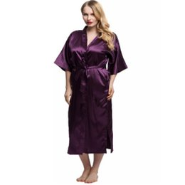 Wholesale- 2017 Sexy Long Bride and Bridesmaid Satin Robes Sleepwear Silk  Casual Bathrobe Nightgown Women Kimono Sexy Lingerie One Size cddeb69b0