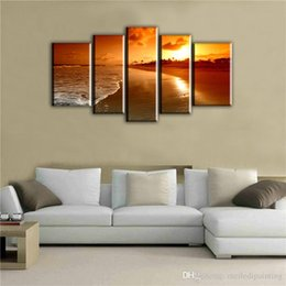 Beautiful Oil Paintings Pictures Scenery Canada - 5 Picture CombinatioNatural Sea Sunrise Landscape Paintings Canvas Oil Printing Beautiful Simple Decoration Wall Scenery Paintings for House