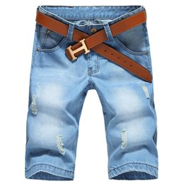 China Wholesale-plus size 28-42 Summer Men's solid color beggar Denim shorts New summer casual Light blue beach shorts short jeans No Belt supplier light color jeans suppliers