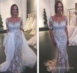 Chinese  Sheer O Neck Short Sleeve Ivory Over Champagne Lace Mermaid Wedding Dress with Removable Tulle Train Crystal Sash Illusion Back manufacturers