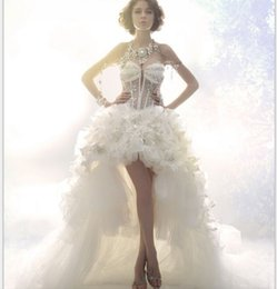 Chinese  Real Photo 2019 Summer Style Design Luxury Crystal See Through Corset Sexy Front Short Long Back A-Line Wedding Dress Backless Bride Gowns manufacturers