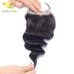 Top knoT hair accessories online shopping - Lace Closure Brazilian Lace Closure Loose Wave Natural Black Bleached Knots Middle Free Three Way Part x4 quot Lace Top Closure