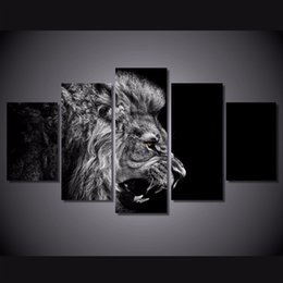 Canvas Prints Free Shipping Australia - 5 Pcs Set Framed Printed lion white black Painting Canvas Print room decor print poster picture canvas Free shipping ny-4584