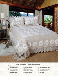 Bedding Spreads Canada - 100% cotton crochet classic bed spread Luxury handmade bedding set duvet cover pillowcase 3pcs set beige American style bedcover bed clothes