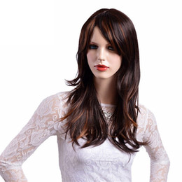 online shopping Long Straight Hair Synthetic Wigs Brown with Yellow Highlights Natural Ombre Wig for Women High Temperature Fiber
