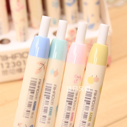 Discount lipstick erasers - Wholesale-1 Pcs Cute Kawaii Korean Flower Leaves Push Up Standard Pencil Erasers Correction Office School Supplies Stati