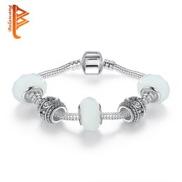 White Silver Bracelet Australia - BELAWANG European Handmade Silver Plated Color Charms Bracelet With White Murano Glass Beads Bracelest&Bangles for Women Wedding Jewelry