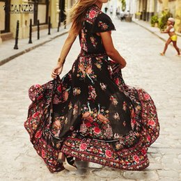 Barato Longo Verão Vestes Senhoras-Venda por atacado- Hot Sale Women Maxi Long Dress 2016 Summer Boho Ladies Sexy V-neck Floral Print Vestidos Split Casual Vintage Long Robe Vestidos