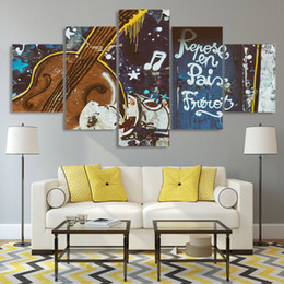 guitar art posters 2020 - 5 Pcs Set Graffiti Guitar Canvas Paintings Home Decor Wall Art Framed Posters HD Prints Pictures Painting cheap guitar a