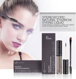 TaTToos branding online shopping - Pudaier Waterproof Eyebrow Liquid Makeup with Brush Professional Eye Brow Tattoo Brand makeup Long Lasting Pigments Eyebrow Gel