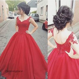 Short Red Lace Prom Vintage Dress Australia - 2017 Modern Red Tulle Prom Dress Cheap Short Sleeves Lace Backless Formal Holidays Wear Graduation Evening Party Gown Custom Made Plus Size