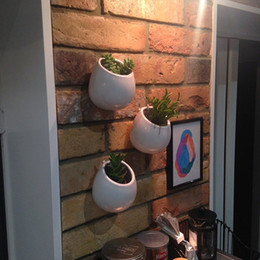 large ceramic vases 2019 - 3PCS Package Quality White Pots Wall Ceramic Vase Wall Mountable Plant Terrarium Wall Succulent Planters Gardening