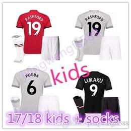 99edf340c89 ... kids kits with socks Home away 3RD 17 18 Man Utd POGBA Soccer Jersey  United 2017 Latest Manchester United WhiteBlack 2016 ...