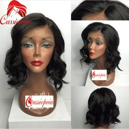 $enCountryForm.capitalKeyWord Canada - Big Wave Full Lace Wigs Short Human Hair Lace Front Wig with Baby Hair For Black Women Bleached Knots Natural Wave Indian Hair Full Lace Wig