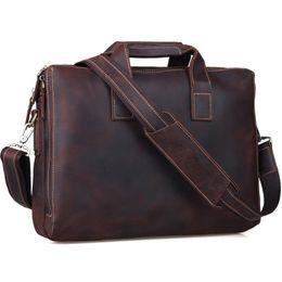 Mens Soft Leather Briefcase Canada - Wholesale- Business Cowhide Leather Briefcase 14 Inch Laptop Bag Mens Top Handbag Vintage Soft Brown Satchel Messenger Shoulder Bag Tiding