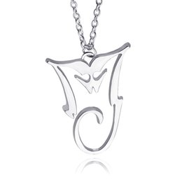 Pop Plate Wholesale Pas Cher-2016 Michael Jackson Collier Pendentif Plaqué Argent MJ King Of Pop Thriller Moonwalker MJ Bad logo Vente en gros Bijoux zj-0903668