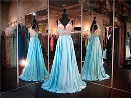 Dark Colored Prom Dresses Canada - Spaghetti Straps Multi Colored Beaded Top Blue Chiffon Prom Dress Open Back Flowly Skirt Evening Gown Pageant Dress