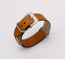Discount watch band for panerai - 24mm NEW Man Lady Light Brown Khaki VINTAGE Watch Band Strap Belt Real Leather Silver Brushed Screw Buckle Luxury Nato Z