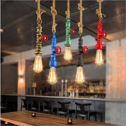 Water Pipe Art NZ - DIY Loft Retro Industrial Vintage Steampunk Water Pipe Colorful Pendant Lamp e27 Home Rope Light for bar Restaurant dining room