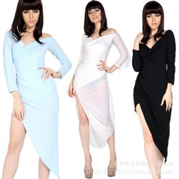 $enCountryForm.capitalKeyWord Canada - Fenzhe Autumn New Product Europe And America Sexy Low Strapless Chest Bandage Asymmetry Skirt Pendulum Word Lead Long Sleeve Dress