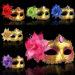 Venetian chain online shopping - 2017 New Masquerade Masks Venetian Face Mask Fashion Rose Bead Chain Crystal Party Decoration Halloween Christmas Gift WX9