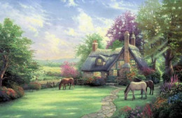 $enCountryForm.capitalKeyWord UK - Framed Landscape Horse grazing farmyard flowers,Free Shipping,Pure Hand Painted Landscape Art oil painting On Canvas Multi sizes Available