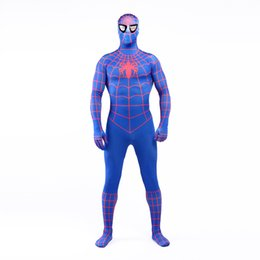 Photos Spandex Masculine Pas Cher-Real Photo 2017 Sexy Blue and Red Lycra Spandex Plein Body Zentai Suit Costume Superhero Spider-man Cosplay Costume pour Halloween